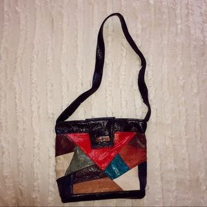 Handbags - Vintage patchwork leather shoulder bag